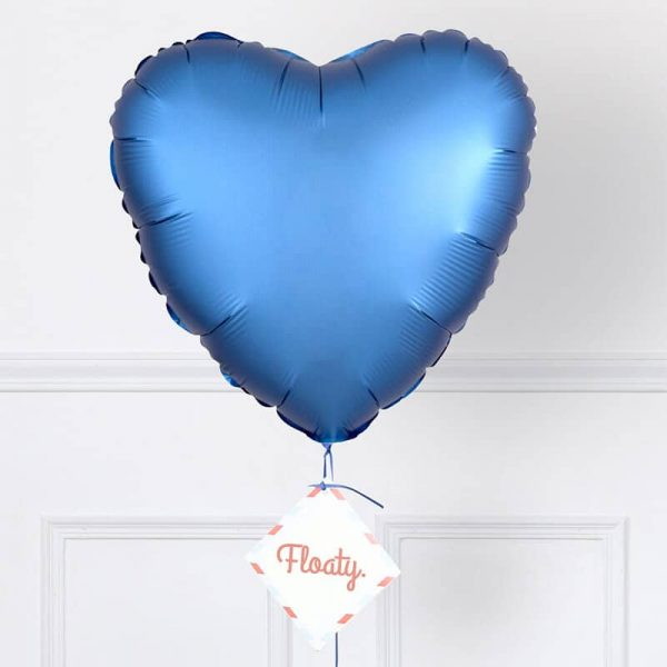 Herzluftballon Satin Blau Zoom