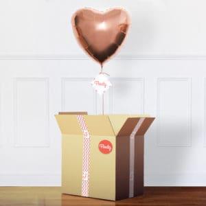 Herzluftballon rosegold im Karton