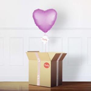 Herzluftballon satin rosa im Karton