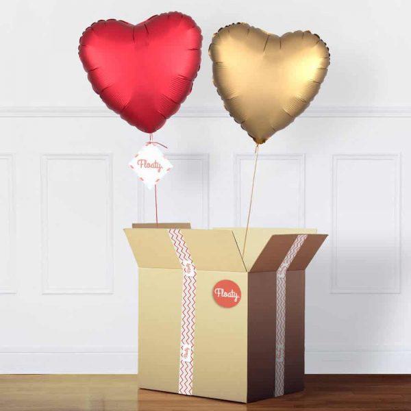 Herzballon Bouquet Satin Gold und Rot