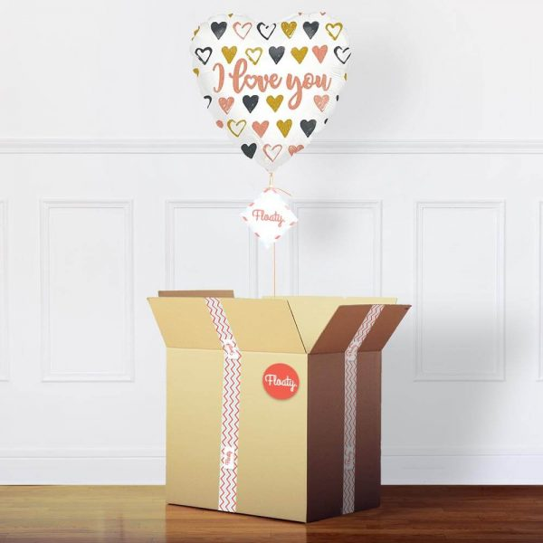 Herzluftballon I love You im Paket