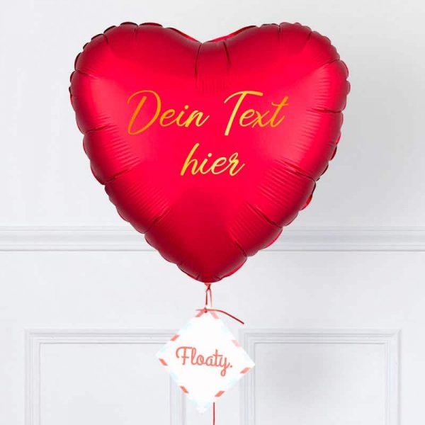 Personalisierter satin roter Herzluftballon Zoom
