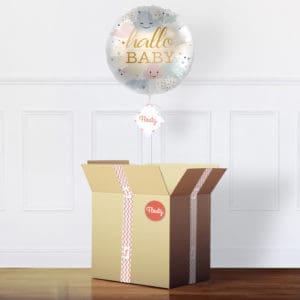 Luftballon zur Geburt im Karton