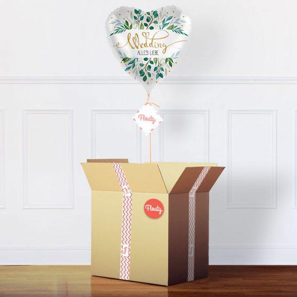 Ballon zur Hochzeit im Karton