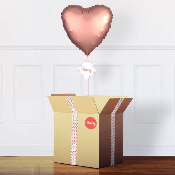 Herzluftballon satin-rosegold im Karton