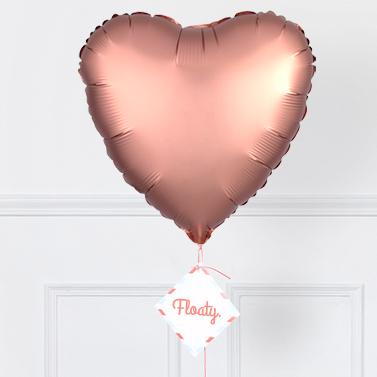 Herzluftballon satin rosegold zoom